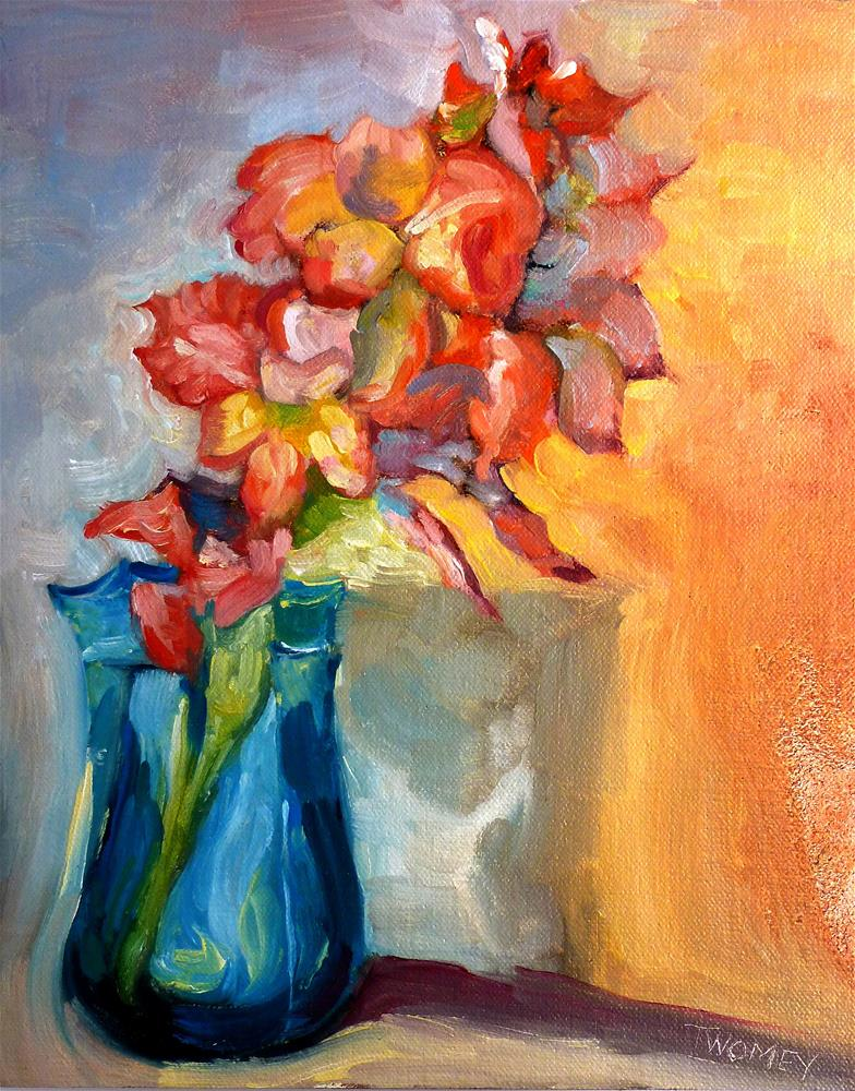 """Liquid Gladiolus 3.0: Peach, Yellow and Pink"" original fine art by Catherine Twomey"