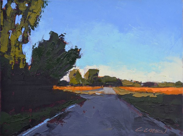 """""""Minervaville Road, Fall Shadows"""" original fine art by Mary Gilkerson"""