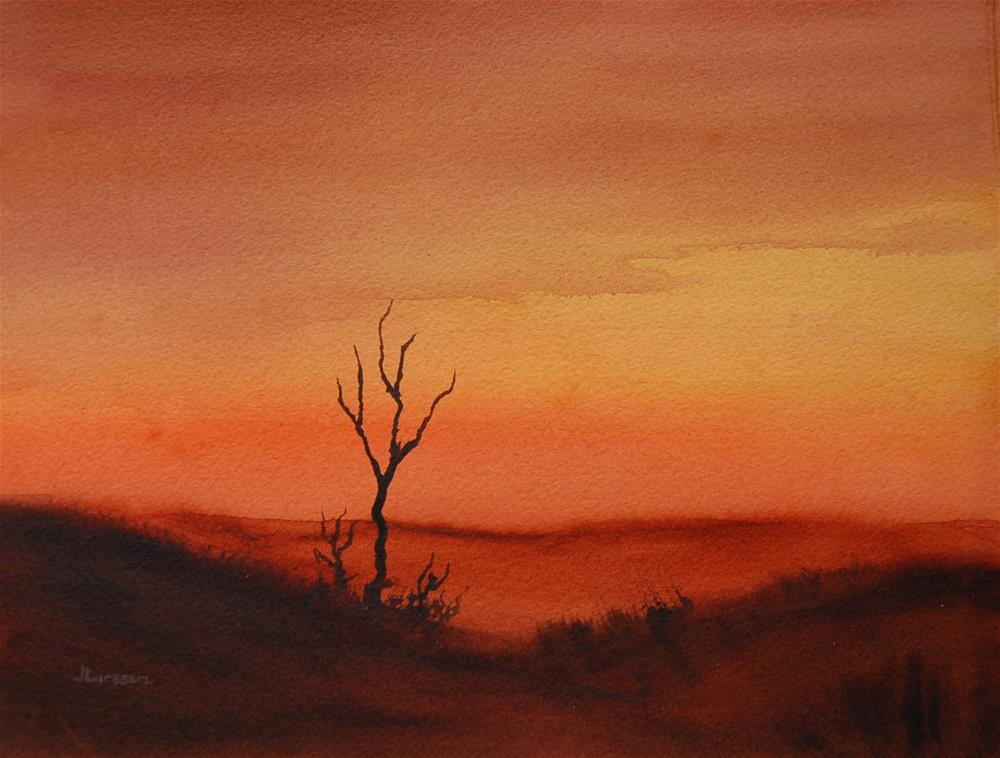 """Desert Sunset"" original fine art by Jean Lurssen"