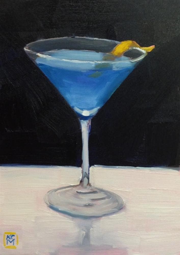 """""""Join Me, 5x7 inch Oil Painting of a Blue Martini by Kelley MacDonald"""" original fine art by Kelley MacDonald"""