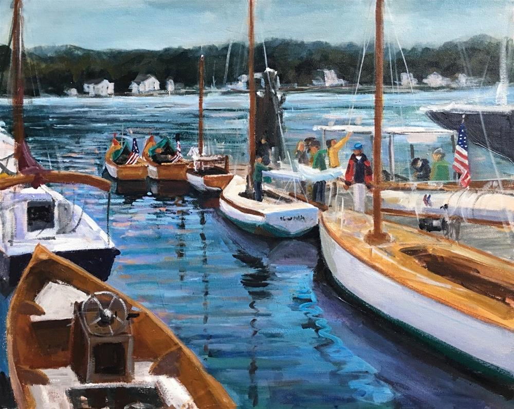 """All American, Wooden Boat Show, Mystic CT"" original fine art by Linda Marino"
