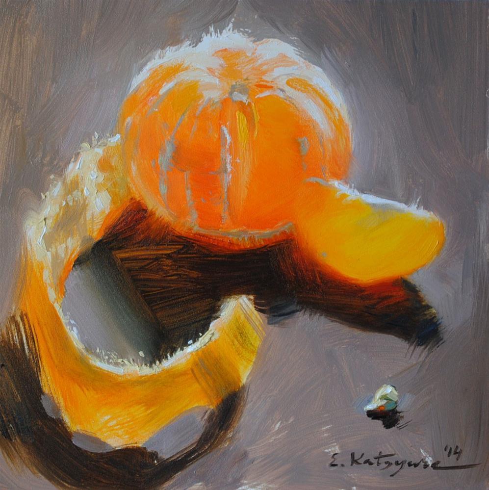 """Mandarin on Grey"" original fine art by Elena Katsyura"