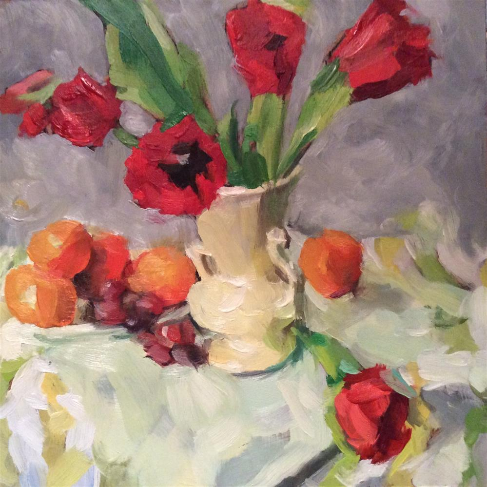 """""""Still life with tulips"""" original fine art by Paula Howson-Green"""