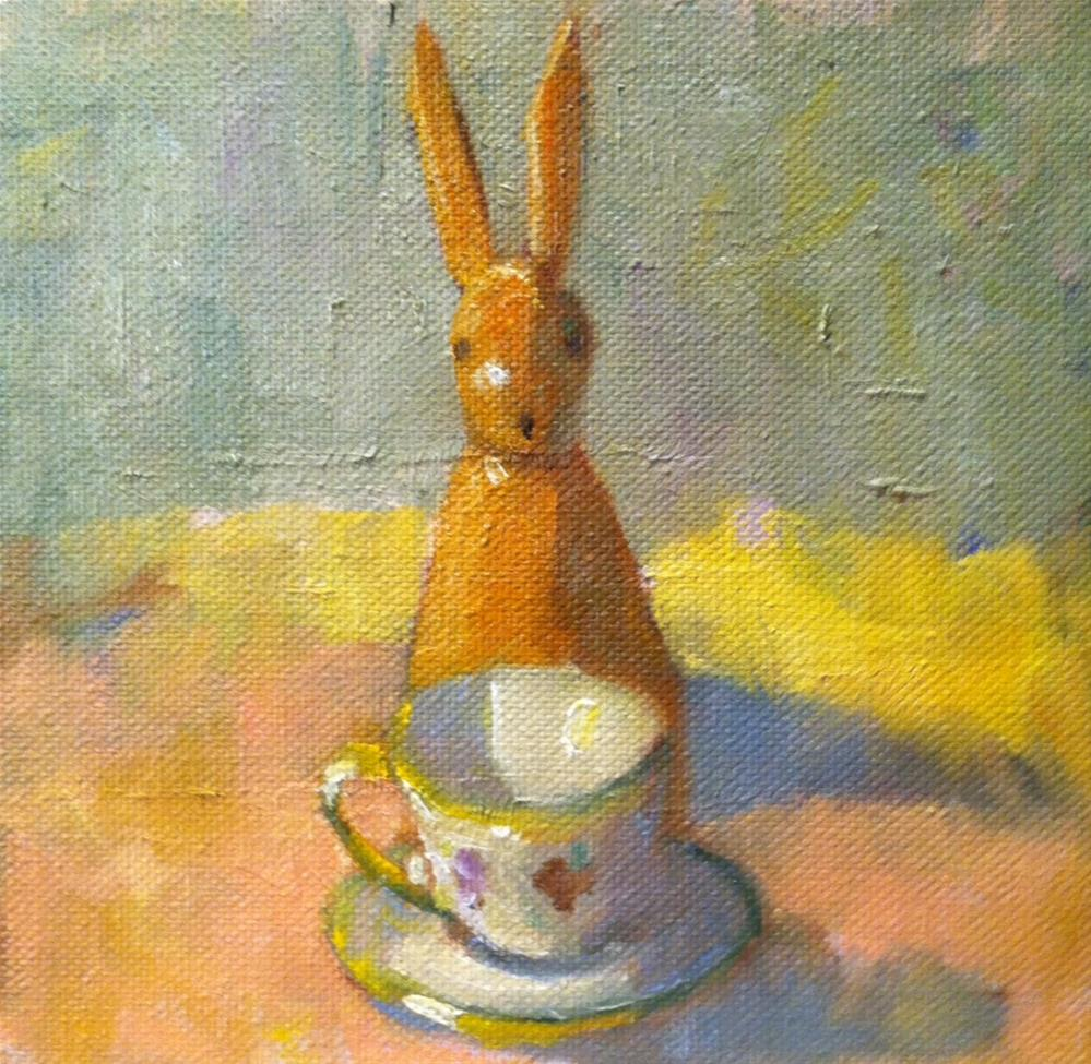 """Bunny Tea"" original fine art by Katharine March"