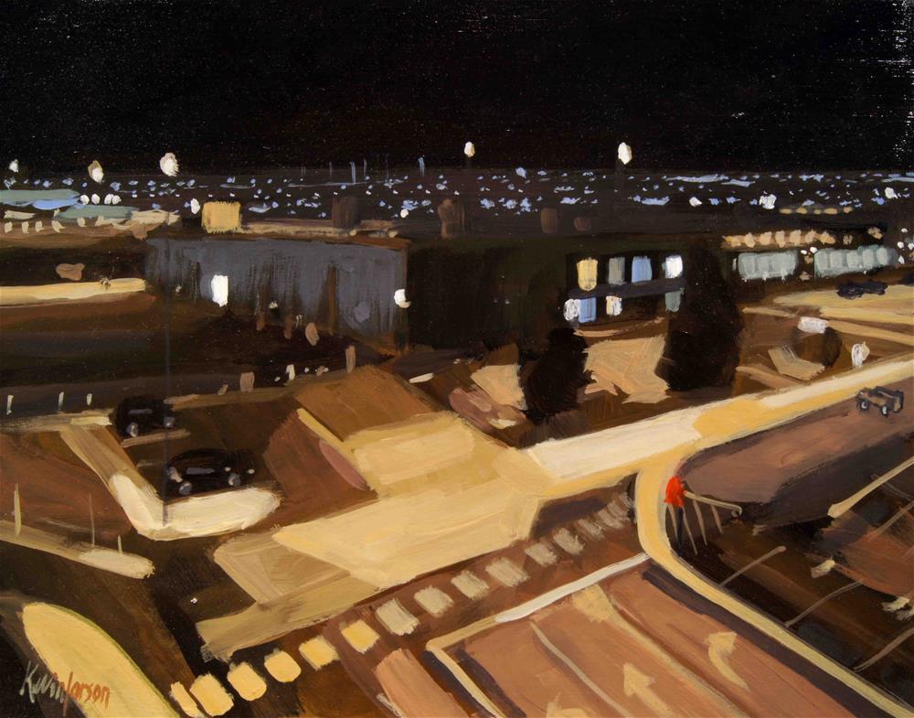 """Dulles runways at night"" original fine art by Kevin Larson"