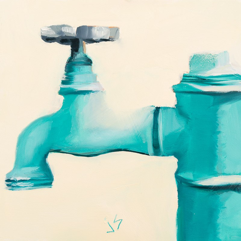 """Turquoise  Faucet"" original fine art by Johnna Schelling"