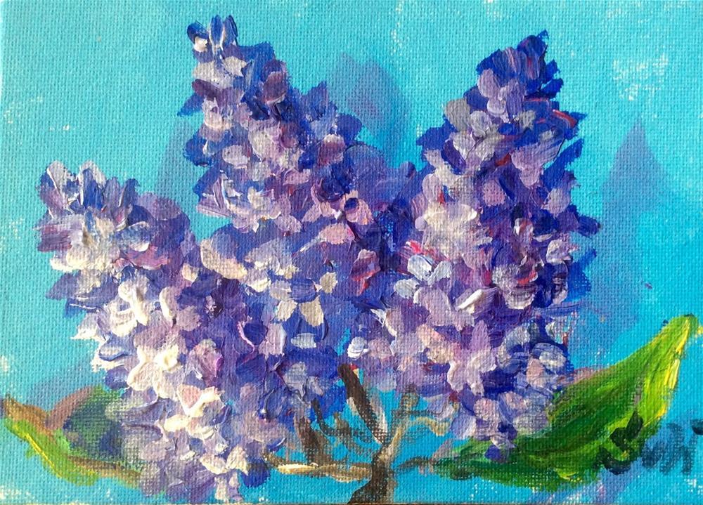 """""""Lilacs on blue"""" original fine art by Sonia von Walter"""