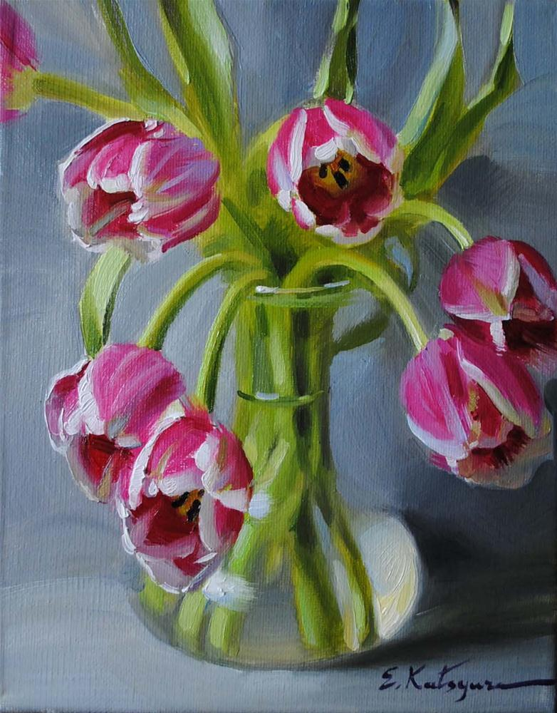 """Tulips in Vase"" original fine art by Elena Katsyura"