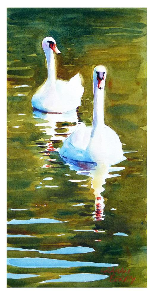 """""""Two swans"""" original fine art by Graham Berry"""