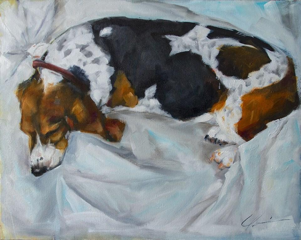"""""""Sleeping Basset"""" original fine art by Clair Hartmann"""