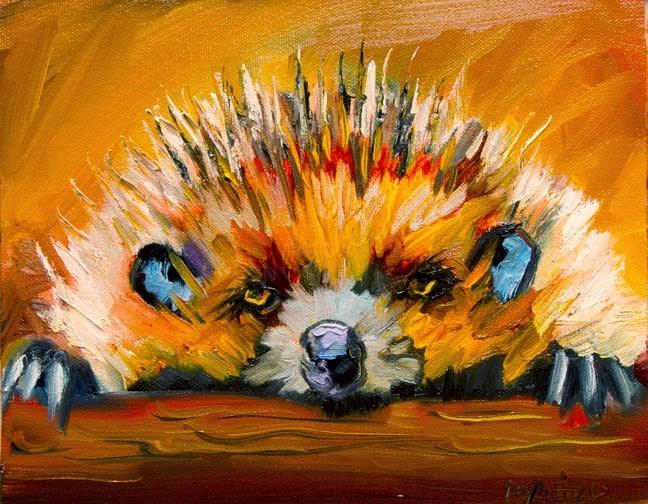 """ARTOUTWEST HEDGEHOG Woodland Creature Series Diane Whitehead Fine Art oil painting"" original fine art by Diane Whitehead"