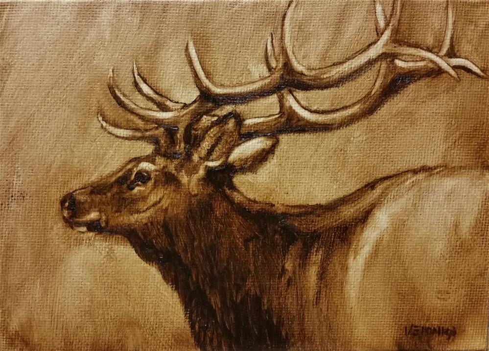 """Bull Elk"" original fine art by Veronica Brown"