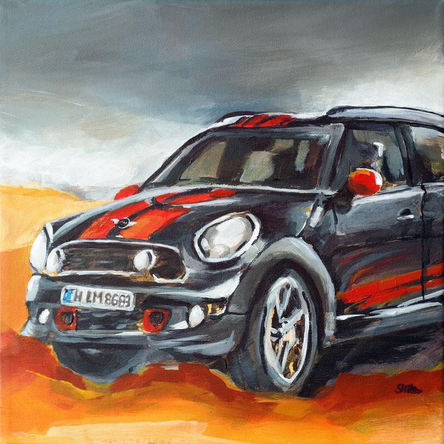 """1041 Mini Cooper"" original fine art by Dietmar Stiller"