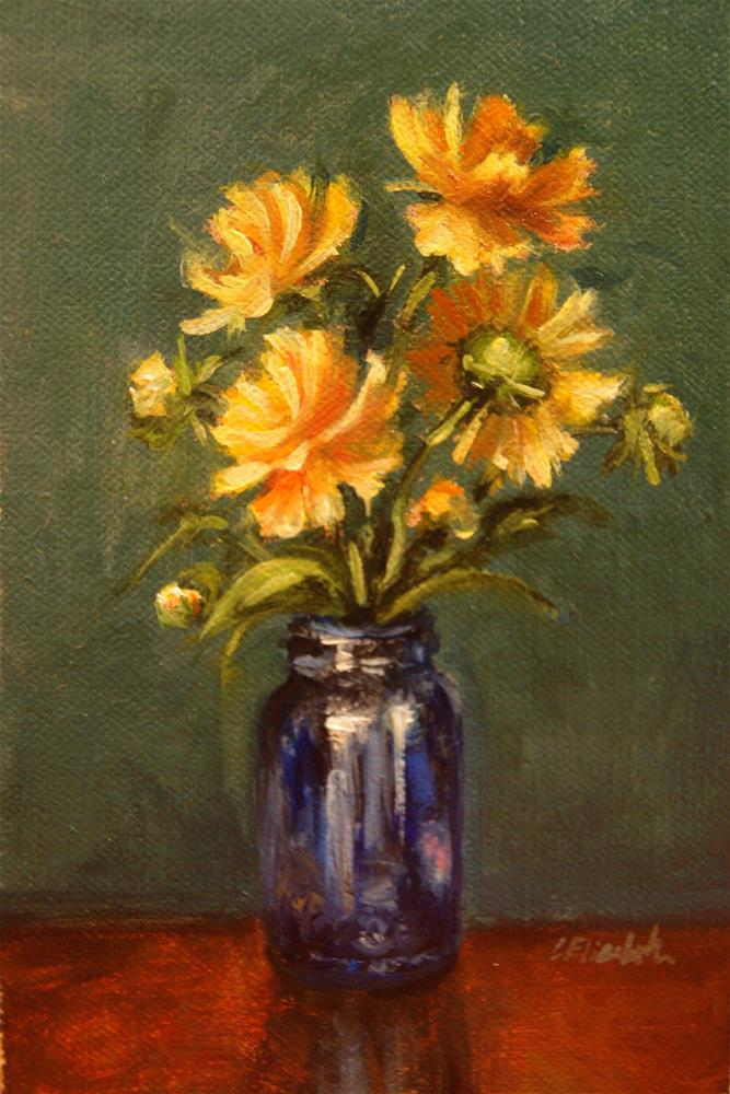 """Coreopsis in Cobalt Bottle,  Oil on 4x6 Linen Panel"" original fine art by Carolina Elizabeth"