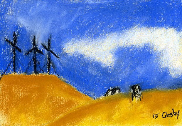 """""""Wind Power And Cows"""" original fine art by Donna Crosby"""