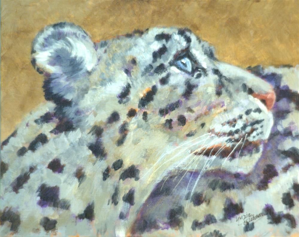 """Pensive Snow Leopard"" original fine art by Carla Ridener"