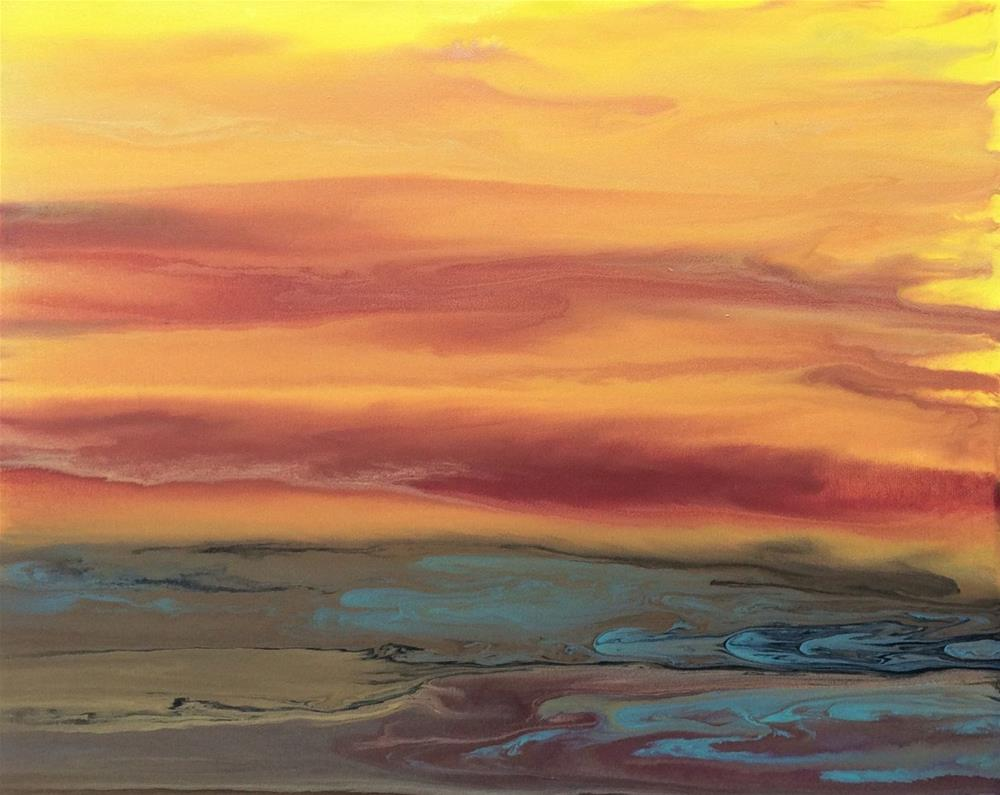 """Contemporary Abstract Landscape Painting Golden Hour Upon Us VII by Colorado Contemporary Artist K"" original fine art by Kimberly Conrad"