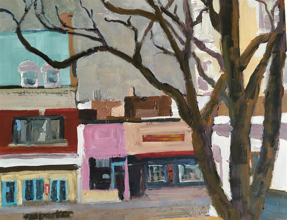 """Streetscape Small Town"" original fine art by Christine Parker"