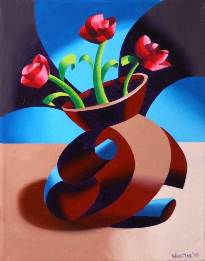 """Mark Webster - Futurist Dancing Abstract Flower Pot Still Life Oil Painting - Step One"" original fine art by Mark Webster"