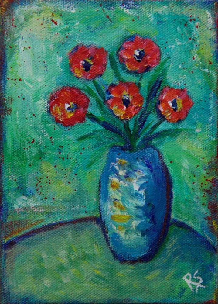 """""""Five Flowers"""" original fine art by Roberta Schmidt"""