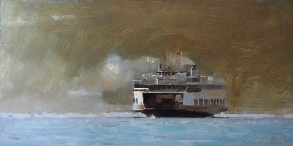 """Blue Gold Smoke Ferry"" original fine art by Gretchen Hancock"