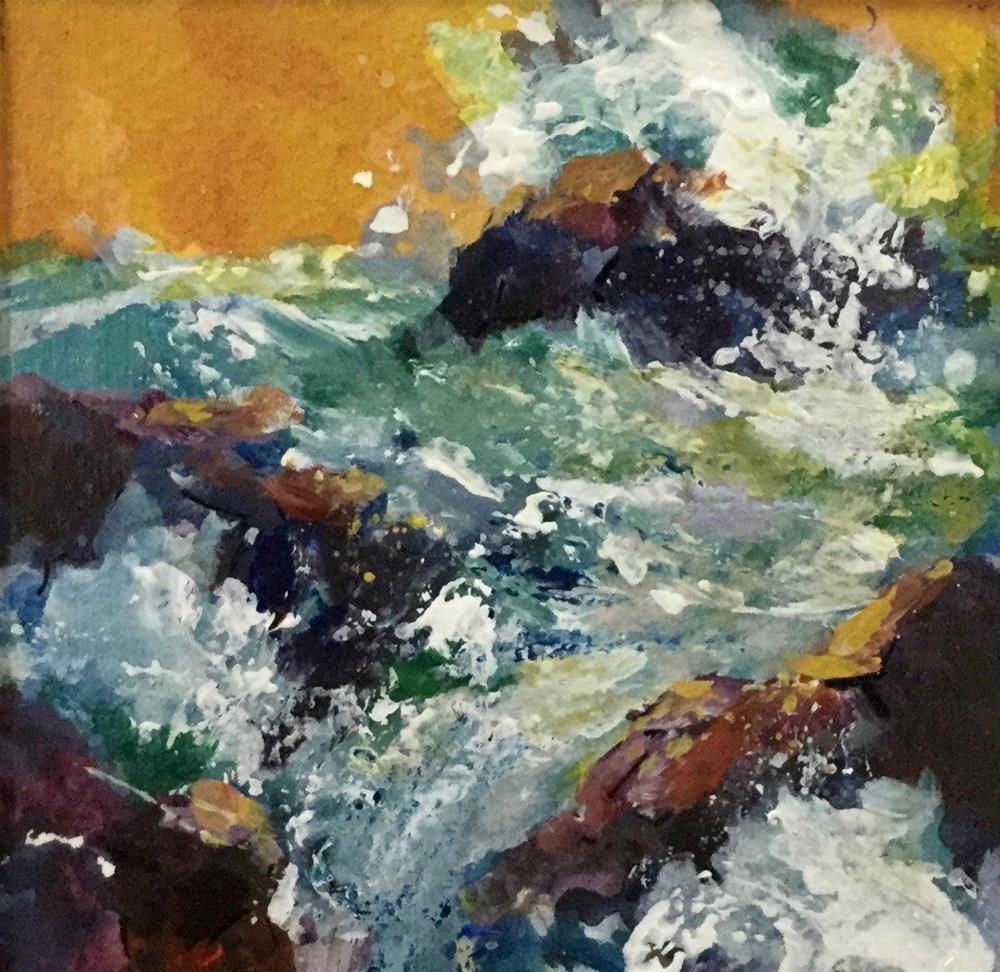 """Sunset Seascape Water Wave Ocean Acrylic "" original fine art by Alice Harpel"