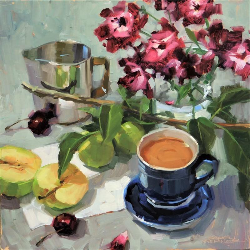 """""""Clippings, Coffee & Cream"""" original fine art by Karen Werner"""