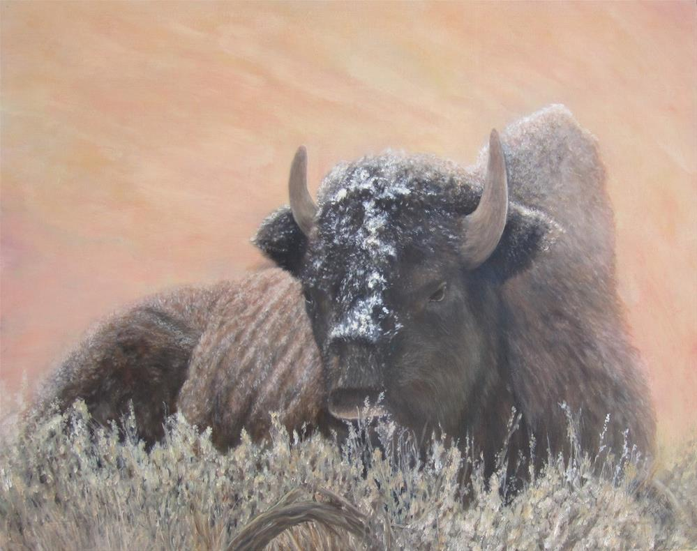 """Bison in early snow"" original fine art by Karen Stitt"