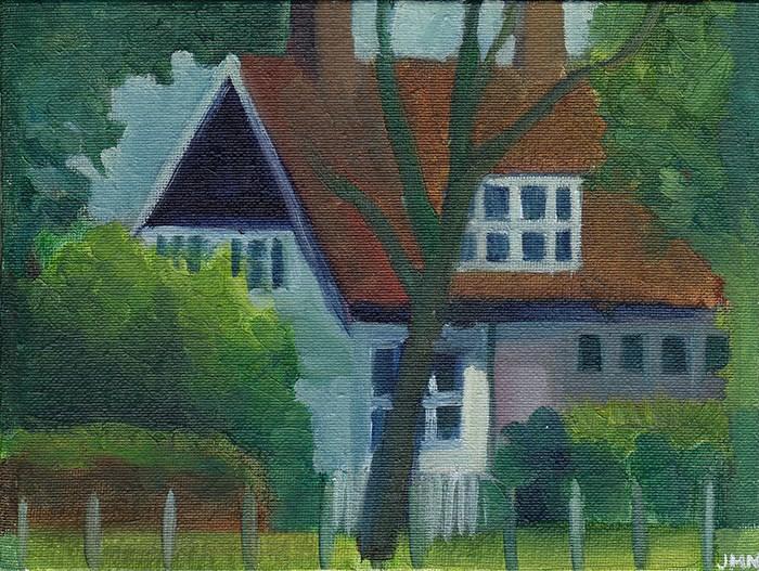 """Across the Road"" original fine art by J M Needham"