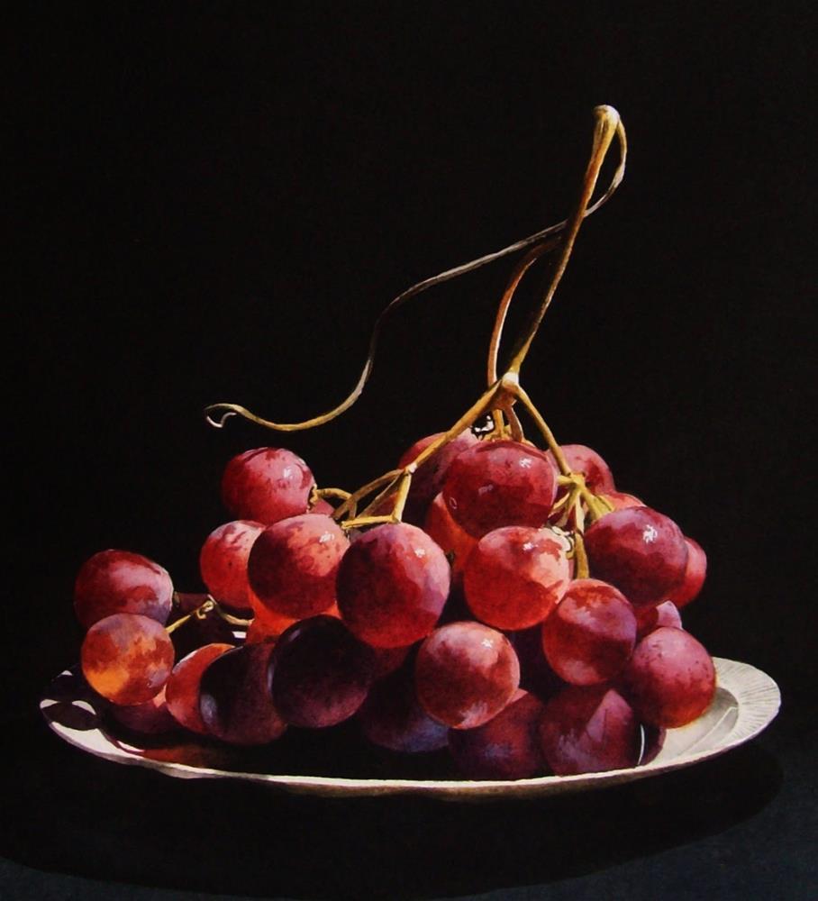 """Red Globe Grapes 2 (Framed)"" original fine art by Jacqueline Gnott, TWSA, WHS"