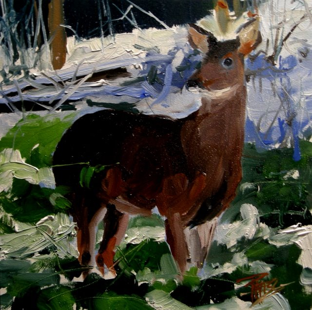 """Winter Deer  oil painting"" original fine art by Robin Weiss"