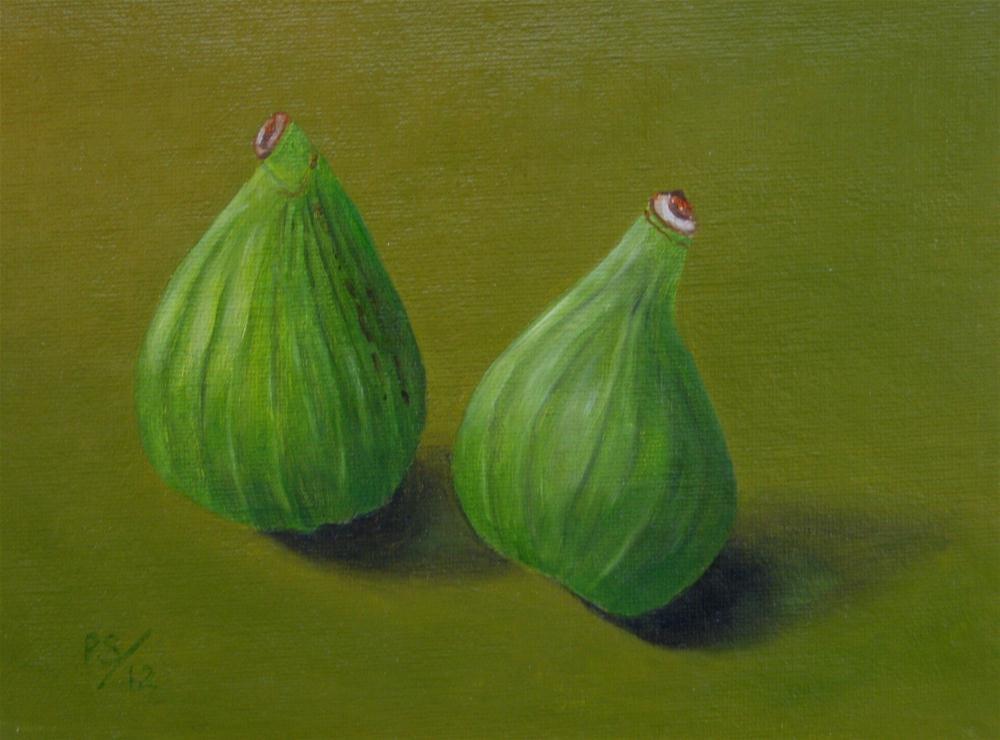 """Two green Figs I"" original fine art by Pera Schillings"