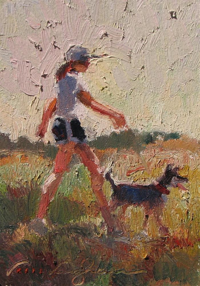 """""""Bright Morning Walk"""" original fine art by V.... Vaughan"""