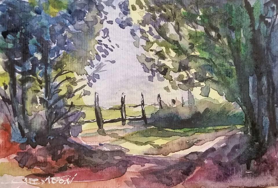 """In The Park"" original fine art by Gabriella DeLamater"