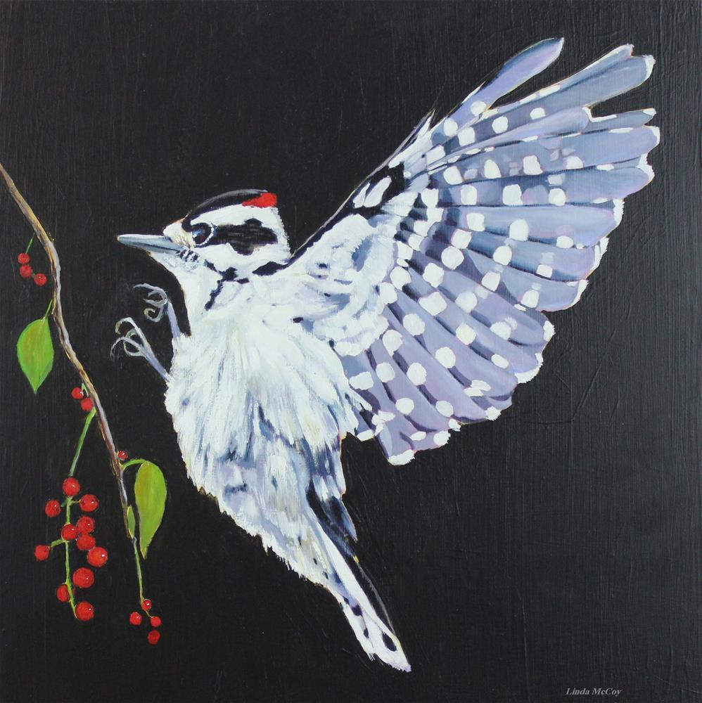 """Downy Woodpecker,"" original fine art by Linda McCoy"