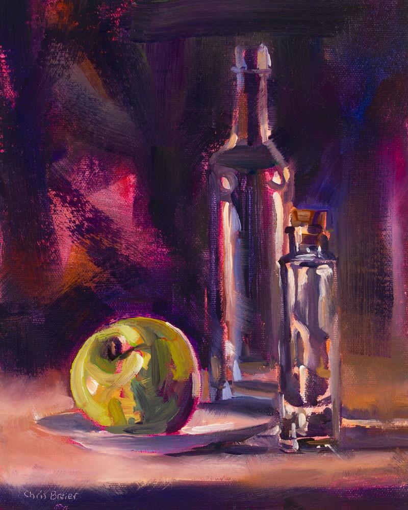"""""""Bottles & Apple"""" original fine art by Chris Breier"""