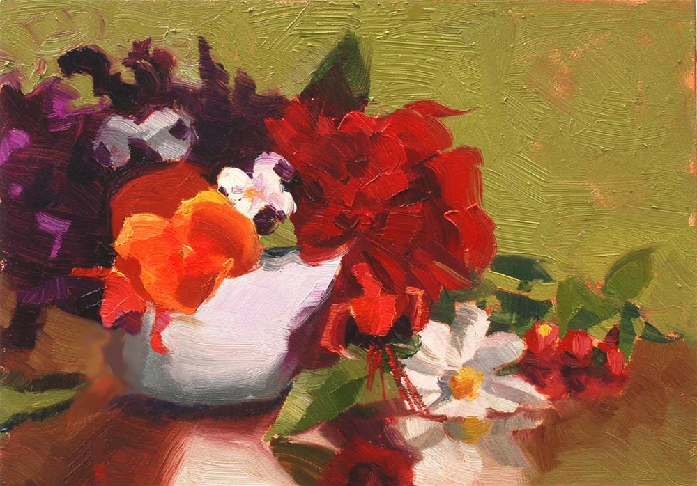 """""""Teacup Bouquet 4"""" original fine art by Susan McManamen"""