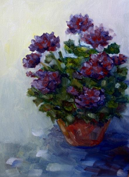 """Purple Geraniums"" original fine art by Maggie Flatley"