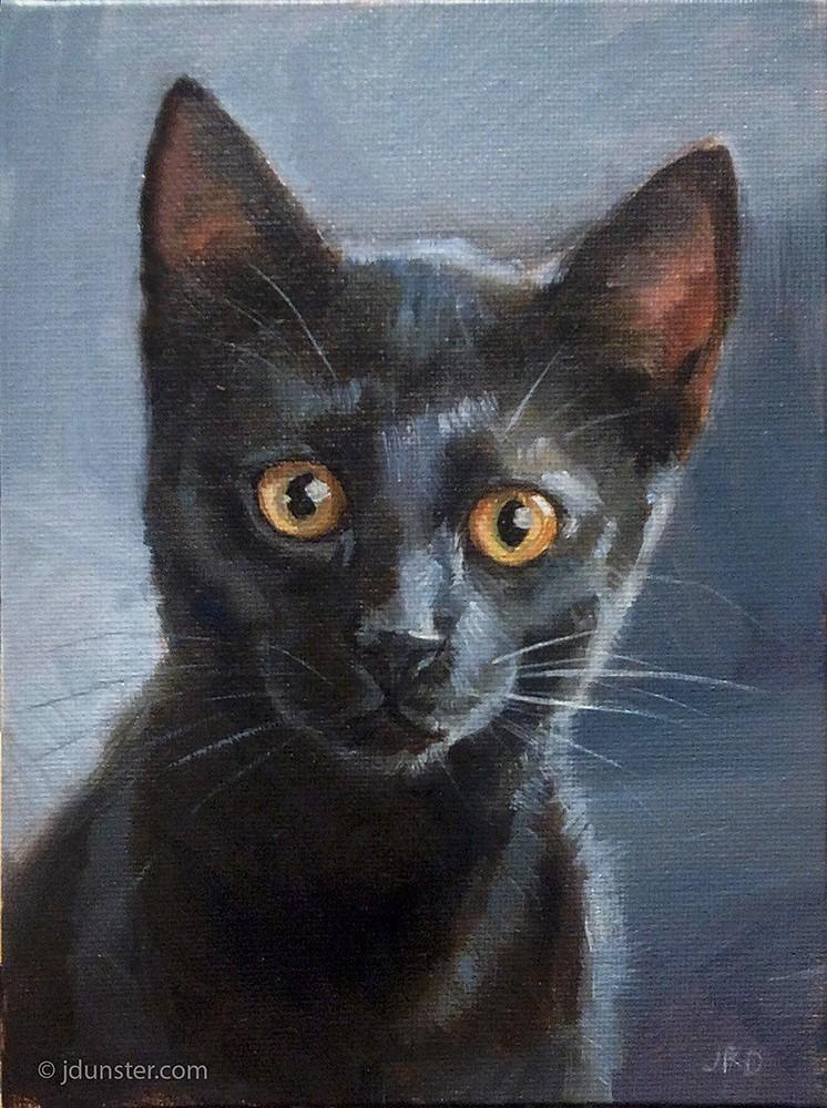 """Cute Black Kitten"" original fine art by J. Dunster"