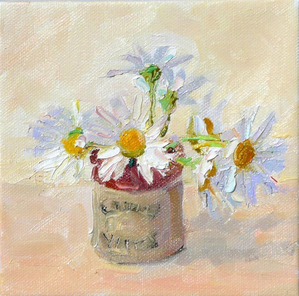 """Daisies in Mustard Jar,still life,oil on canvas,6x6,price$200"" original fine art by Joy Olney"