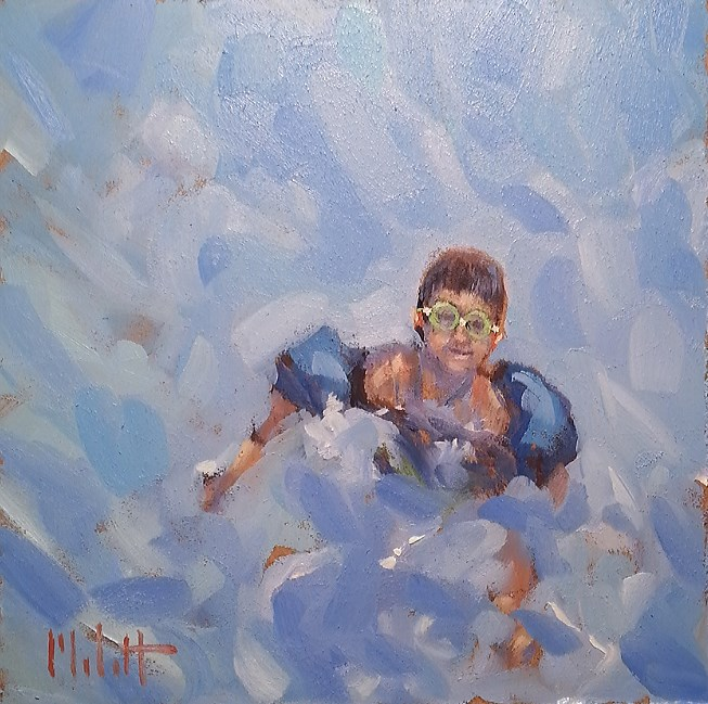 """Waterbug Swimming Pool Summer Impressionism Original Oil Painting"" original fine art by Heidi Malott"