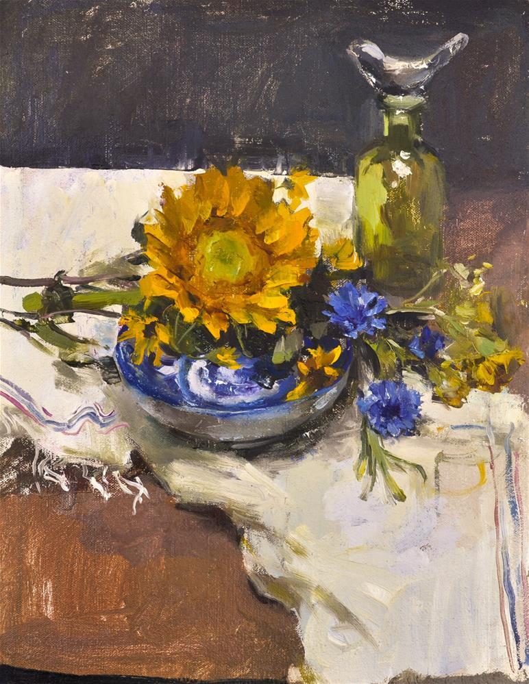 """Sunflowers and blue plate"" original fine art by Taisia Kuklina"