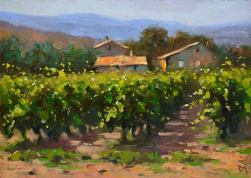 """Tuscany village, Countryside of Italy. Italian landscape oil painting"" original fine art by Nick Sarazan"