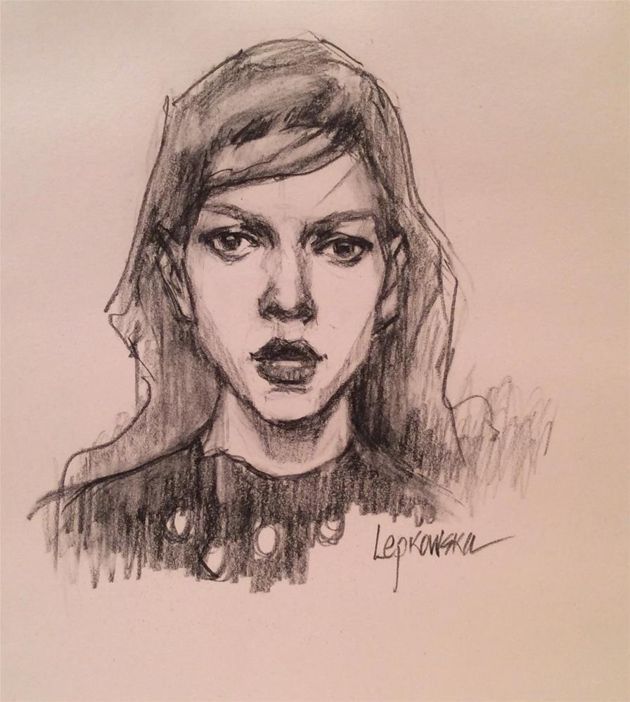 """""""The Girl in the Polka Dot Dress"""" original fine art by Laurie Johnson Lepkowska"""