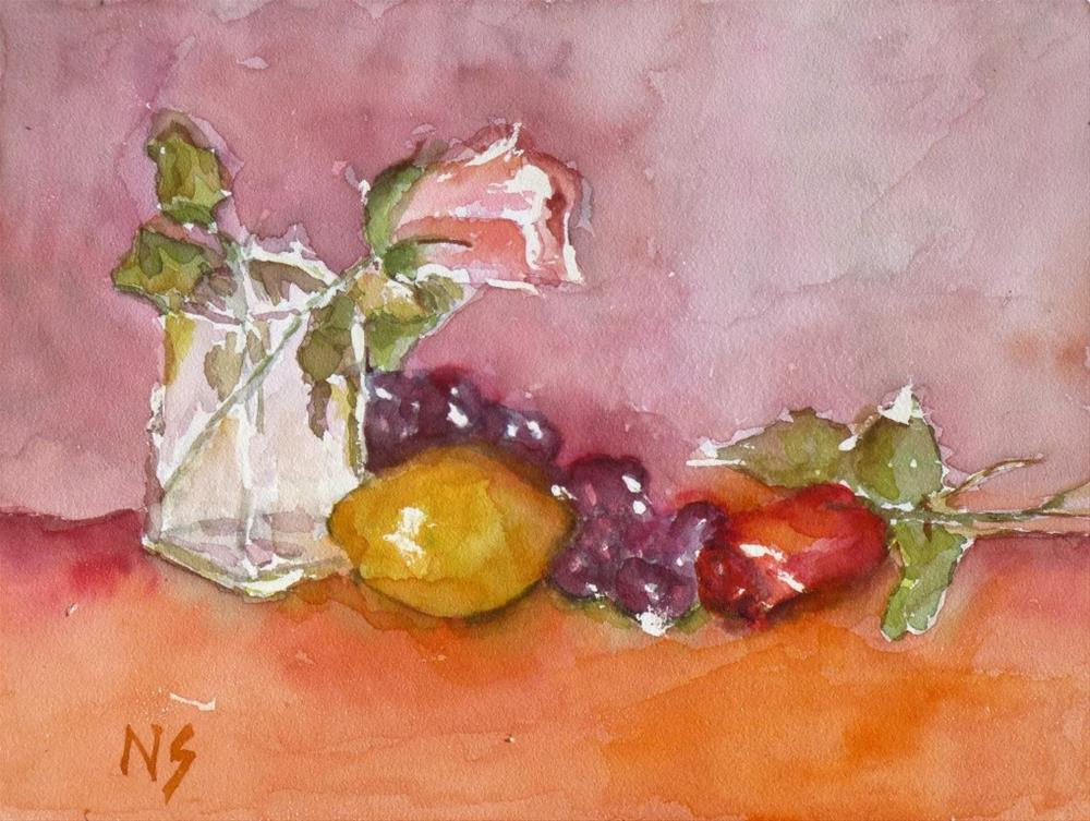 """Roses and Lemon 14041 SOLD"" original fine art by Nancy Standlee"
