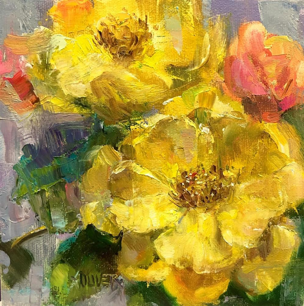 """Yellow Roses And 1,000 Posts"" original fine art by Julie Ford Oliver"