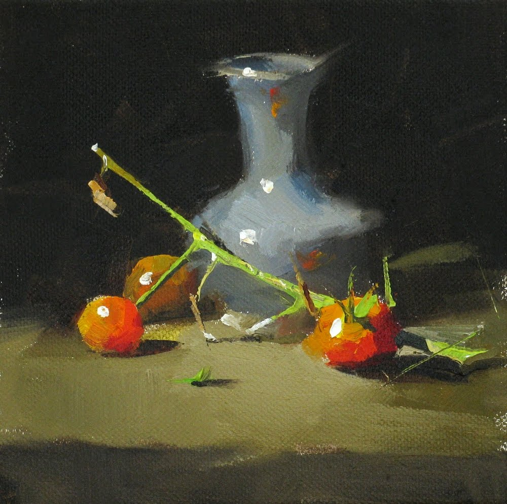 """Tomatoes and a Dry Stem"" original fine art by Qiang Huang"