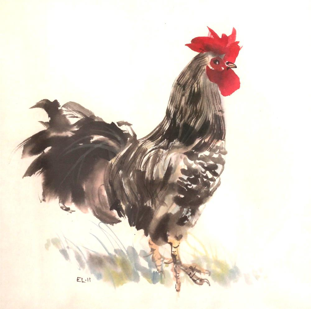 """Rooster"" original fine art by Emilia Leinonen"