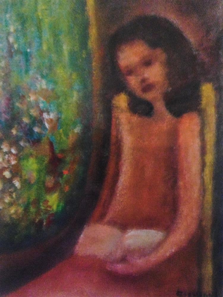 """""""Girl by the window (Reading) with view to the garden"""" original fine art by Giovanni Antunez"""