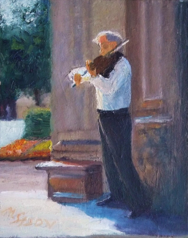 """Vladimir plays Ave Maria"" original fine art by Michael Sason"